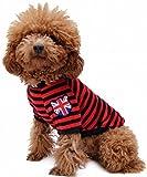 (Banly Shop)ペット服 ボーダー ペット わんちゃん ウェア パーカー 小型犬 中大型犬 コットン 犬服 可愛い お散歩 春 夏 5サイズ 4色 (M,red)