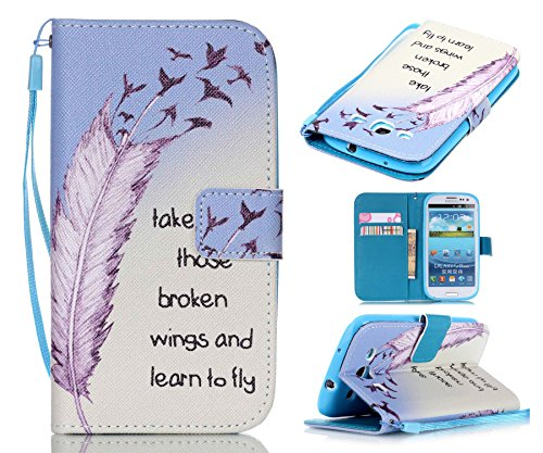 S3 Case, Galaxy S3 Case, ArtMine Birds Feather Quotes Saying PU Leather Magnetic Wallet Pouch Phone Case with Wristlet and Credit/ID Card Cash Slot for Samsung Galaxy S3 (Wristlet For Samsung Galaxy S3 compare prices)