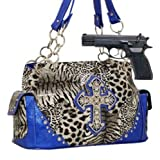 Blue Leopard Print Cross Conceal and Carry Purse with Rhinestones