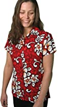 Squish Womens Hawaiian Shirt / Aloha Shirt - Red Floral Hibiscus Theme - Large