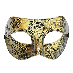 Coofit? Retro Roman gladiator Halloween party masks man woman children Masquerade mask(Gold) from Coofit