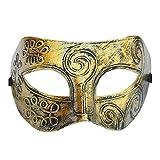 Coofit? Retro Roman gladiator Halloween party masks man woman children Masquerade mask(Gold)