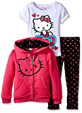 Hello Kitty Little Girls' Polka Dot 3PC Hoodie Legging Set, Fuchsia Purple, 2T