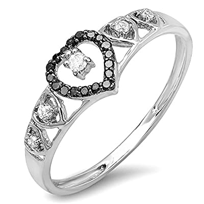 0.15 Carat (ctw) 10K Gold Round Black & White Diamond Ladies Bridal Wave Heart Promise Ring