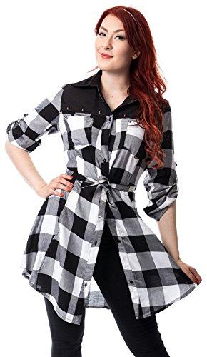 Heartless Clothing -  Vestito  - Maniche lunghe  - Donna Bianco a quadri  S