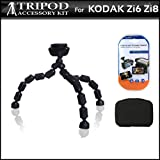 Hard Shell Carrying Case & Flexible Gripster Tripod Kit For Kodak Zi8 Zi6 Pocket Video Camera & Kodak PLAYSPORT Includes Free Pack Of LCD Screen Protectors & Lens Cleaning Kit