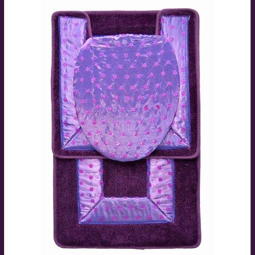 purple 3 embroidered bathroom rug mat set bath rug mat contour rug mat toilet seat lid