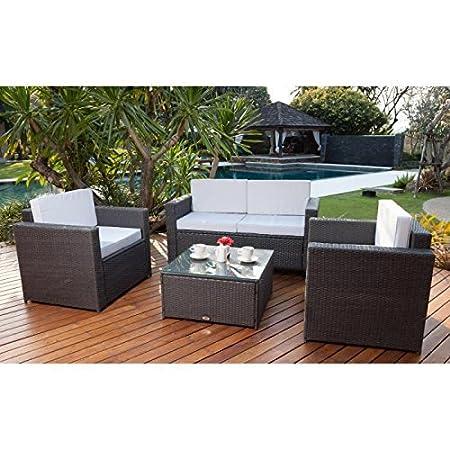 Beau Rivage Bali Juego de mesa y sillas de jardín, resina trenzada, color gris antracita