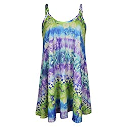 Womens Sleeveless Tie Dye Floral Print Swing Dress Flared Strappy Long Top 8-22 in Various Prints