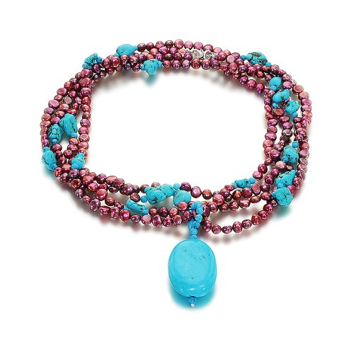 Orchira 925 NHR084(S) Silver Clasp Ladies' Long Aubergine Pearl, Turquoise Beads and Large Pendant Necklace