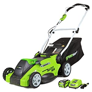 GreenWorks 25322 G-MAX 40V Li-Ion 16-Inch Cordless Lawn Mower, (1) 4AH Battery and a Charger Inc.