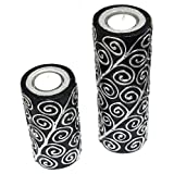 Set Of Two Black And Silver With Tealight Candles