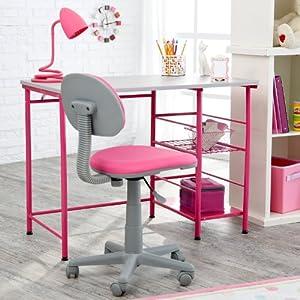 Amazon.com: Study Zone II Desk & Chair - Pink: Home & Kitchen