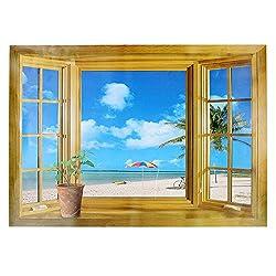 3D Wall Sticker Plaid Window Beach View Wallpaper Mural Home Office Decor