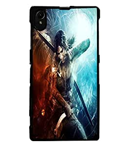 ColourCraft Warrior Girl Design Back Case Cover for SONY XPERIA Z1