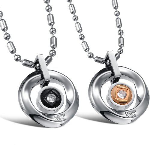 Opk Jewellery Necklaces Charms Stainless Steel Neckwear Chains Cubic Zirconia Inlaid Circular Couple Pendants Necklets