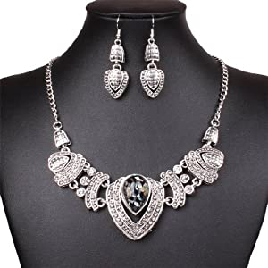 Qiyun Chunky Tibet Silver Tribal Heart Love Pendant Bib Choker Necklace Earrings Set