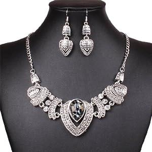 Qiyun Chunky Tibet Silver Tribal Heart Love Pendant Bib Choker Necklace Earrings Set