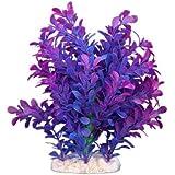 FACILLA® Plante Artificielle Aquatique en Plastique Violet-bleu Déco pour Aquarium