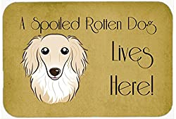 Carolines Treasures BB1460JCMT Longhair Dachshund Spoiled Dog Lives Here Kitchen or Bath Mat, 24 by 36 , Multicolor
