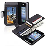 eForCity Leather Case with Wallet Compatible with Apple iPhone 4 / 4S, Black