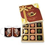 Chocholik Belgium Chocolates - 9pc Scrumptious White Collection Of Chocolates With Diwali Special Coffee Mugs...