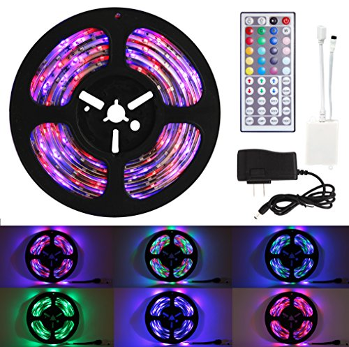 Techno Earth 16.4 Feet 5M 5 Meter SMD RGB 3528 Waterproof IP65 LED Strip light 300 + 44 Key Remote + 12V Supply Power (Techno Strip compare prices)