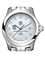 University of Chicago Women's TAG Heuer Link Watch with Mother of Pearl Diamond Dial