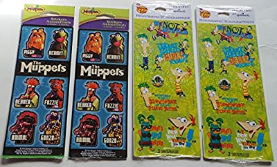 (2) packs The Muppets Stickers and (2) packs Phineas and Ferb Stickers