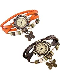 COSMIC RAKHI COMBO ANALOG BUTTERFLY PENDENT WOMEN WATCH-ORANGE AND BLACK