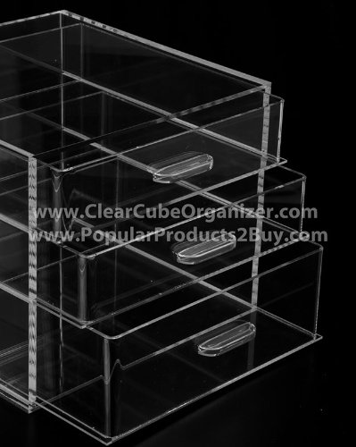 Acrylic Lucite Clear Cube Makeup Organizer w/3 Drawers