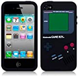 Black Gameboy Style Silicone Skin Cace Cover For iPhone 4 4S phones