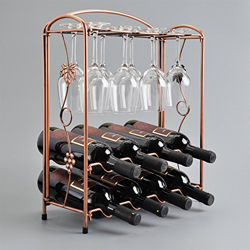 Wine Rack Grape Arbor Style Retro Design Metal Tabletop Organizer Storage for 8 Wine Bottles 8 Glasses (Hutch Wine Rack compare prices)
