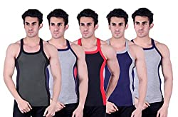 Zimfit Superb Gym Vests - Pack of 5 (GRN_GRY_BLK_BLU_GRY_80)