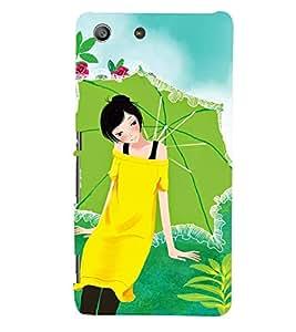 Printvisa Yellow Dressed Girl With An Umbrella Back Case Cover for Sony Xperia M5 Dual E5633 E5643 E5663:: Sony Xperia M5 E5603 E5606 E5653
