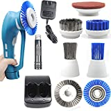 CUH Cordless Household Power Scrubber with Rechargeable Battery for Bathroom and Kitchen 1 Battery 6 Brushes 1 Scouring Pad Green