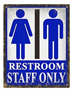 Amazon.com - Restroom Sign STAFF ONLY bathroom Unisex ...