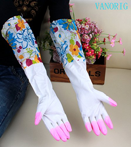 VANORIG® 2015 Stylish Best Quality 2 Pair Long and Short Natural Latex Warter-proof Cleaning Gloves Household Dish Washing Wash Clothes Gloves (Red Fingers)