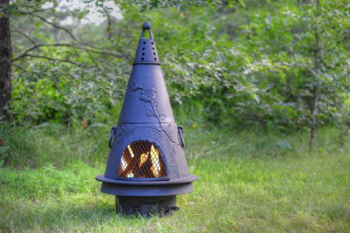 Blue-Rooster-ALCH009GK-CH-Garden-Style-Cast-Aluminum-Chiminea-wGas-Kit-Charcoal-Medium