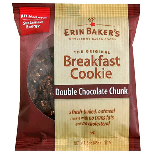 Erin Baker's Breakfast Cookies, Double Chocolate Chunk, 3-Ounce Individually Wrapped Cookies (Pack of 12)
