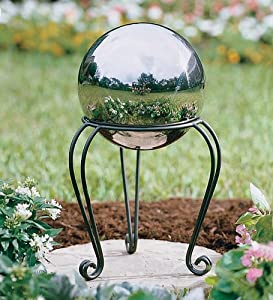 Stainless Steel Weather-Resistant Gazing Ball with Iron Scroll Stand in Silver