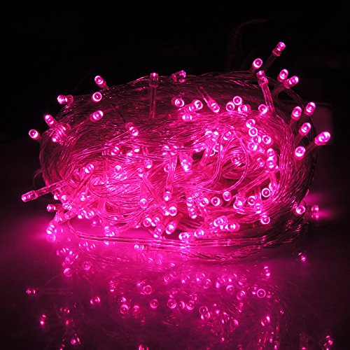 HDE Expandable 100 LED String Lights Wedding Fairy Rope Dorm Room Multifunction Lights Home Holiday Craft Decoration (Pink String Lights)