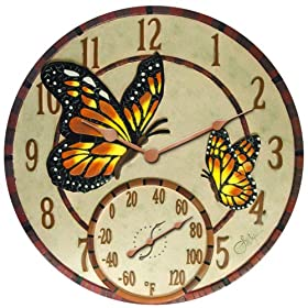 "Springfield  91019 14"" Poly Resin Mosiac Butterflies Clock with Thermometer"