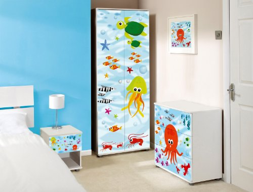 Under The Sea Design Childrens/Kids White Bedroom Furniture Set