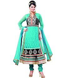 Shayona Women's Net Semi Stitched Dress Material_SSE722007SRK_Sky Blue_Free Size