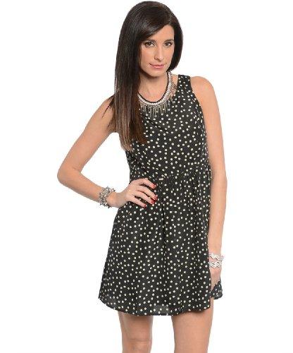 2Luv Women'S Polka Dot Lace Back Dress Black S(Id2170)