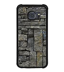 Fuson Premium 2D Back Case Cover Brick pattern With black Background Degined For Samsung Galaxy S6::Samsung Galaxy S6 G920