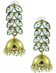 The Jewelbox Antique Gold Plated Kundan Polki Pearl Jhumki Earring For Women