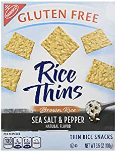 Nabisco, Rice Thins, Sea Salt & Pepper, Brown Rice Thin Rice Snacks, Gluten Free, 3.5oz Box (Pack of 4)