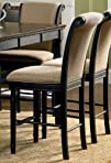 Set of 2 24H Counter Height Stools with Rolled Top Cappuccino